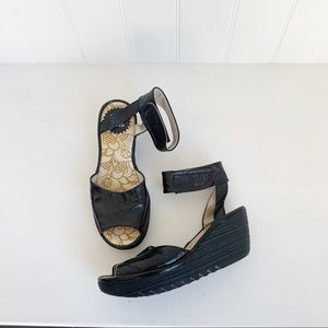 Fly London Peep Toe Wedge Sandals Size 35
